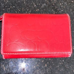 NWT Coach Red Leather Wallet with white Stitching